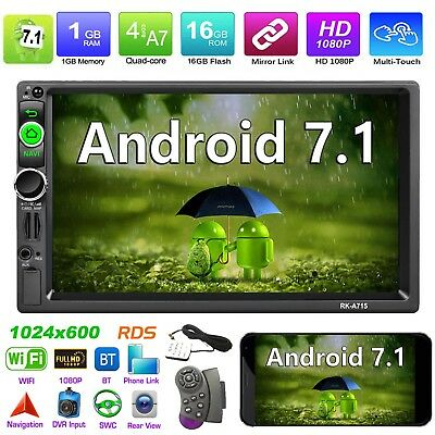 "Autoradio 7""2Din Quad core Android7.1 Car Stereo MP5 WiFi BT RDS GPS AM FM Radio"