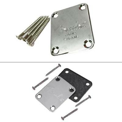 Electric Guitar Neck Plate Chrome Silver With Screws Rubbermat for Fender Strat