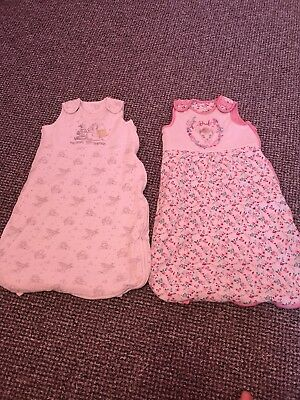 Baby Gro Bags X2 sleeping Great Condition Disney Bambi And Winnie The Pooh 0-6