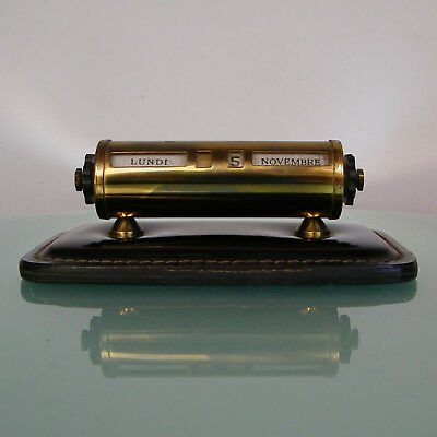 ANTIQUE ART DECO BRASS & LEATHER FRENCH PERPETUAL DESK CALENDAR 1930's