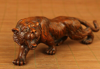 big chinese Boxwood hand carving tiger statue figure netsuke valuable gift