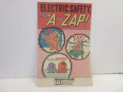 Electric Safety  From A To Zap 1972 Northeast Utilities Electric Giveaway Promo