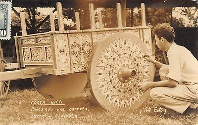 SARCHI, ALAJUELA, COSTA RICA, MAN PAINTING A CART, REAL PHOTO PC used 1954