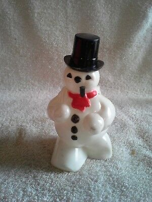 """Vintage Rosbro Hard Plastic Frosty the Snowman Candy Container 5"""""""