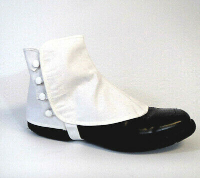Men's Canvas Spats Parade Band Steampunk USA Made White Snaps Shoe Covers 10.5""