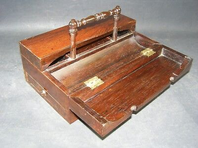 Antique Rosewood Writing Box 1860  Dished Pen Tray,Handle Drawer,  Sent Same Day