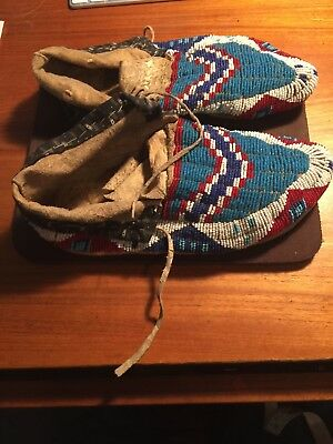 "Shawnee Indian Beaded 9"" Long Moccasins"