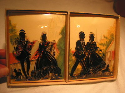 Vintage Pair Silhouettes Man Lady Couple W/ Dog Convex Glass Pictures