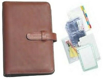 Real Leather Organiser Binder & filofax size personal  planner UNDATED sheets