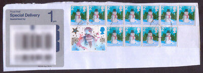 2006 Christmas 2nd class Snowman stamp x 11 on registered piece plus 1985 Xmas