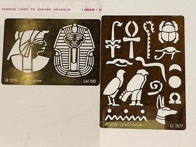 Brass Stencils Embossing 2 PCS Lynell Harlow HYDROGLYPHI and KING TUT #8