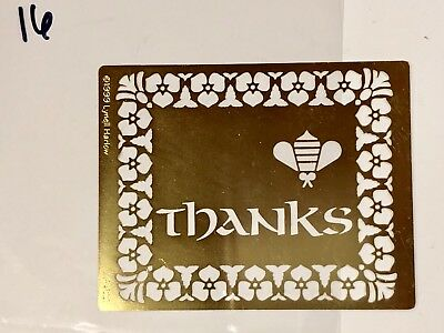 Brass Stencils Embossing Large Stencil THANKS Lynell Harlow #16