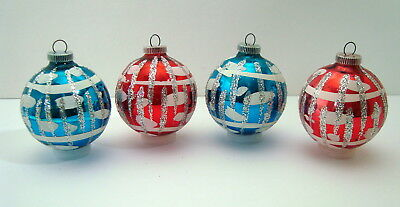 Lot of 4 Vintage Lanissa West Germany Christmas Ornaments*Blue & Red*Org.Box*