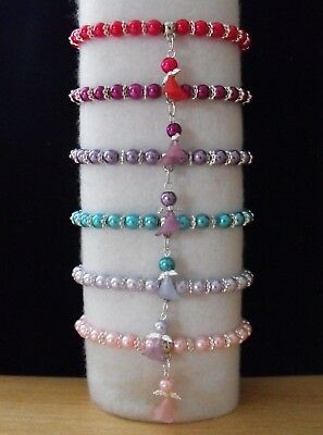 Wholesale Childrens 6 Angel/fairy Charm Bracelets With Gift Bag, Party Bags,gift