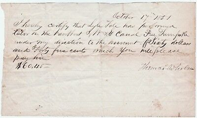 RARE Manuscript Document 1851 Worker Van Wert Wabash Erie Canal Turnpike Ohio OH