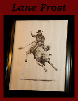 Limited edition print - World Champion Bull Rider Lane Frost; PRCA