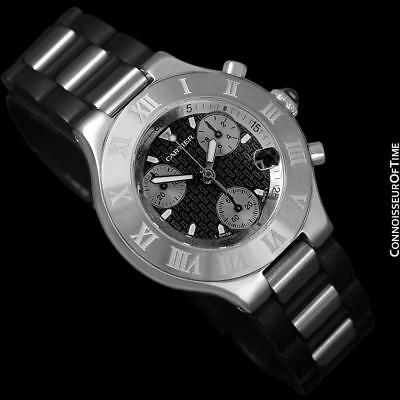 CARTIER 21C Mens SS Steel Chronoscaph Chronograph - $5,150, Mint with Warranty