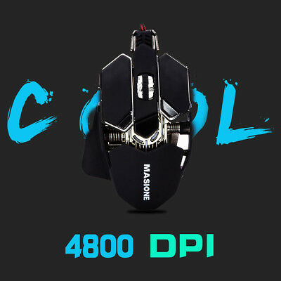 Gaming Mouse 4800 dpi Rainbow Backlit Optical Wired NEON RGB 10 Button USB