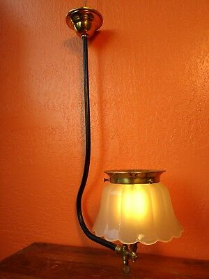 Antique Brass Single Arm Gas Chandelier Victorian Gasolier Hanging Lamp Ceiling