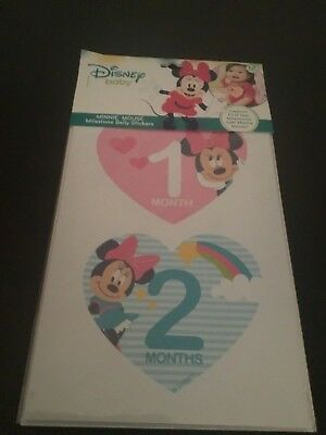 New Disney Baby Minnie Mouse First Year Milestone Belly Stickers Girls heart