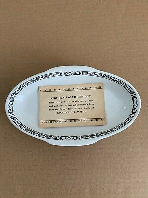 CUNARD STEAMSHIP Vintage RIDGWAY POTTERIES Bowl / QUEEN MARY Elizabeth GREEK KEY