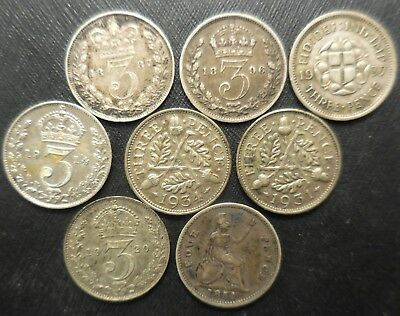 Lot of 7 Three Pence (1887-1937) & 1 1854 Four Pence, Great Britain, UK Coins!
