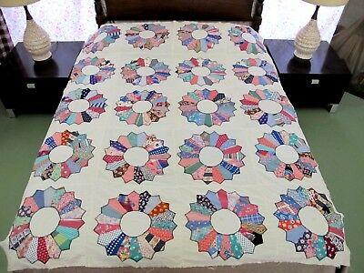 Vntage Feed Sack Hand Sewn Applique DRESDEN PLATE Quilt TOP, Scottie Dog Novelty