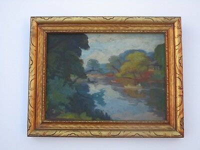 Antique American  Impressionism Small  Gem Landscape Painting Mystery 1910'S