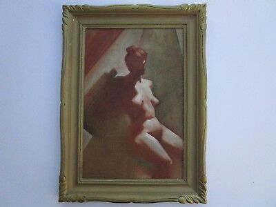 Antique American Female Nude  Painting Mystery Art Deco  Modernist Composition