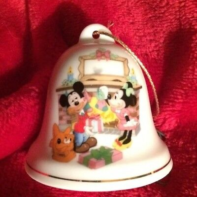 Vintage Mickey Mouse Minnie Mouse Pluto Grolier Disney Christmas Bell Ornament