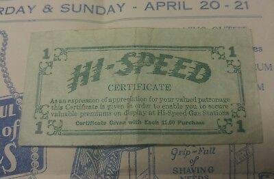 1930's Hi Speed Gas Station's 16th Anniversary Gift Flyer & Certificate, Toledo