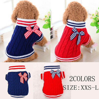 Pet Puppy Clothes Dog Knitted Clothing Winter Apparel Bow Sweater Coat Jacket