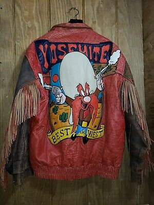 Super Rare Vintage Fine Heavy Leather Jacket Yosemite Sam Looney Tunes Acme Xxl!