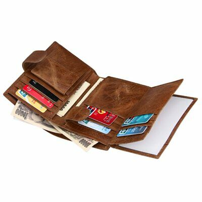 Genuine Leather Large Capacity Mens Trifold Wallet RFID Blocking Anti Scan Zip