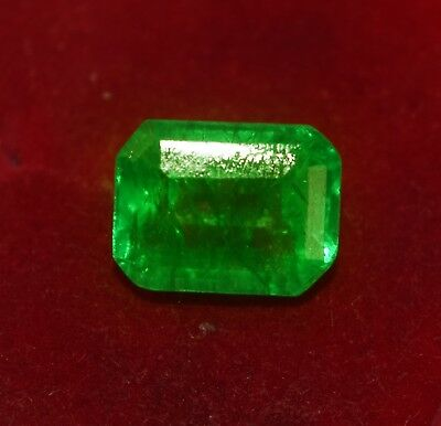 GGL certified 8.15 cts Natural Green Emerald, Emerald shape Zambian Gem