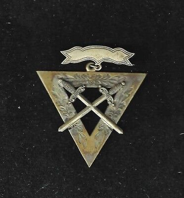 SCARCE Knights of Pythias Crossed Swords Pin Medal Badge Rare Obsolete pat. 1874