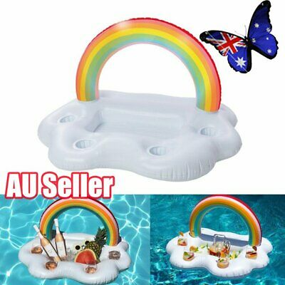 Inflatable Rainbow Cloud Cup Holder Inflatable Pool Floating Beer Drink Toy JO