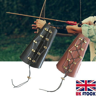 Black/Brown Archery Arm Guard Cowhide Leather Bracer Traditional Bow Recurve Bow