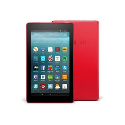 NEW AMAZON KINDLE FIRE 7 RED TABLET ALEXA/8GB Latest Model IPS Front/Rear Camera
