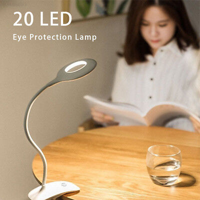 B4A7 Flexible Study Torch Home Decor LED Clip Booklight Reading Light Book Lamp