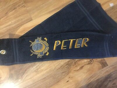 Golf Towel with   Personalised Name and golf Logo embroidered logo