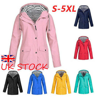 Plus Size Womens Raincoat Hoodie Coat Jacket Ladies Zip Up Hoody Casual Outwear