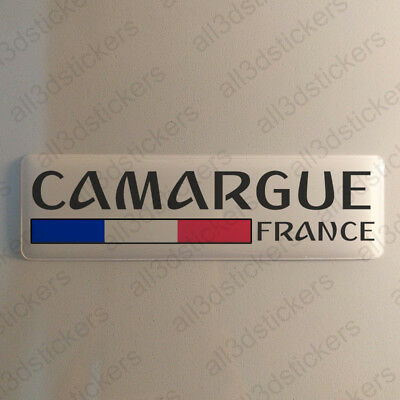 """Camargue France Sticker 4.70x1.18"""" Domed Resin 3D Flag Stickers Decal Vinyl"""