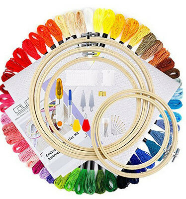 Starter Cross Stitch Set Embroidery Threads Kit Craft DIY Tools Colorful Fabric
