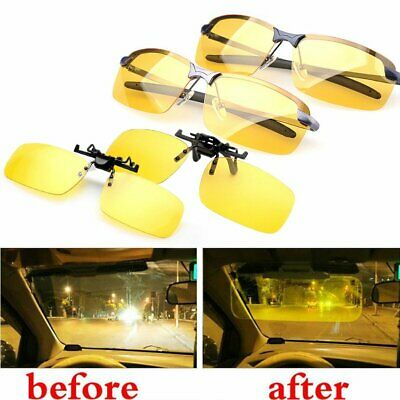 Sunglasses Night Driving Glass HD Anti-glare Spectacles Lens Clip On Polarised