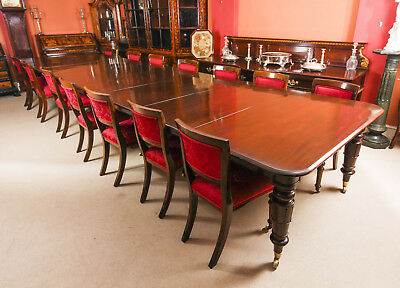 Antique 19ft William IV Mahogany Dining Table &  14 Dining Chairs 19th C