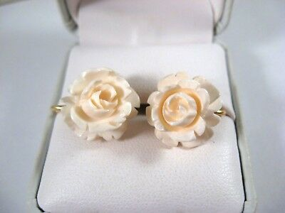Vintage Carved Rose Flowers 12K GF Screw Back Earrings~ Binder Brothers
