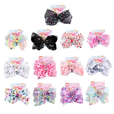 8 inch Cartoon JoJo Siwa Unicorn Hair Bow With Alligator Clip Girl Kids Bowknot
