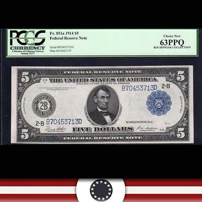 1914 $5 FRN NEW YORK Federal Reserve Note PCGS 63 PPQ Fr 851a  B70453713D