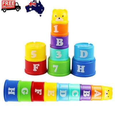 9* Nesting Stacking Cup Letters Educational Toys Early Intelligence Games AU